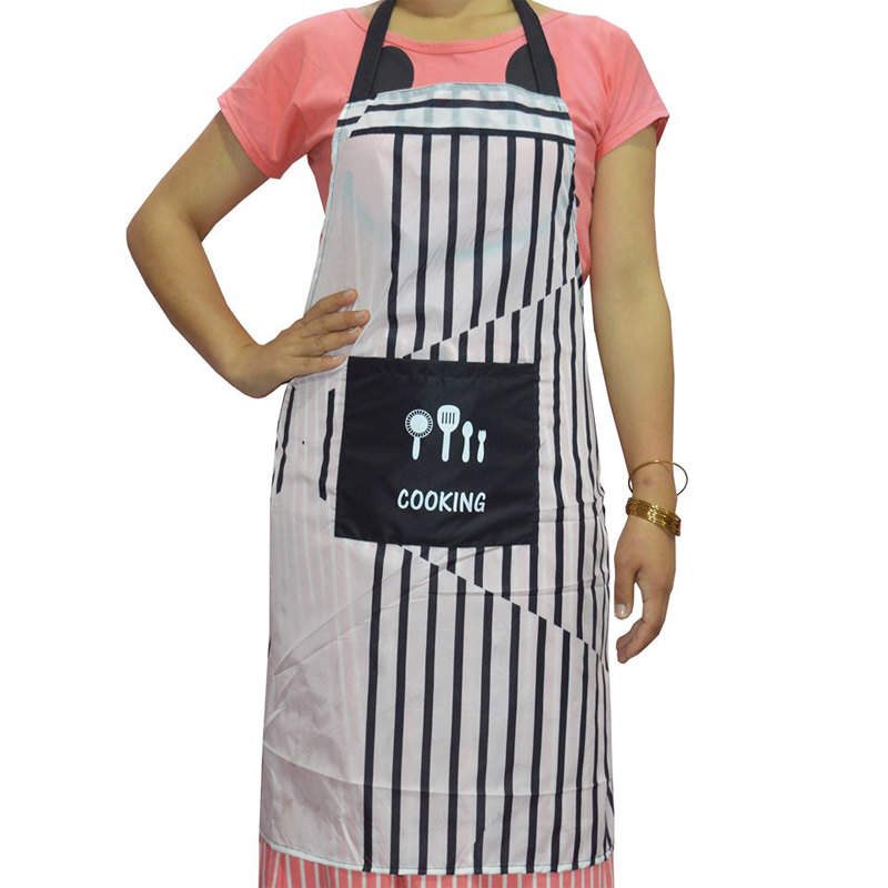 Black & White Lining Waterproof Apron with Big Front Pocket