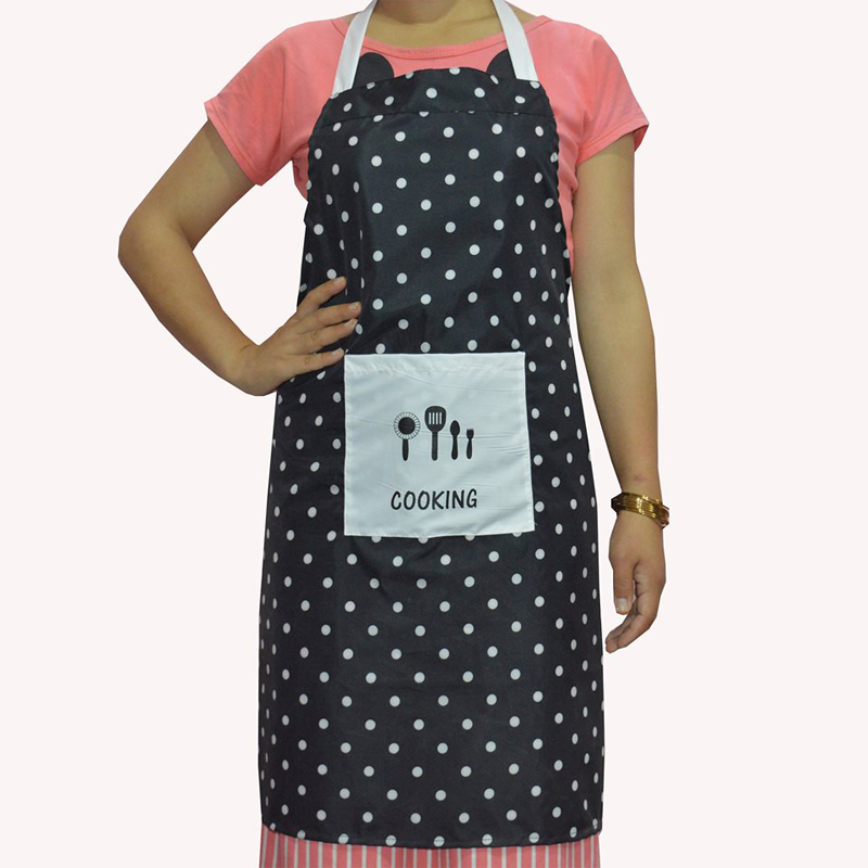 Black & White Spot Printed Waterproof Apron with Big Front Pocket