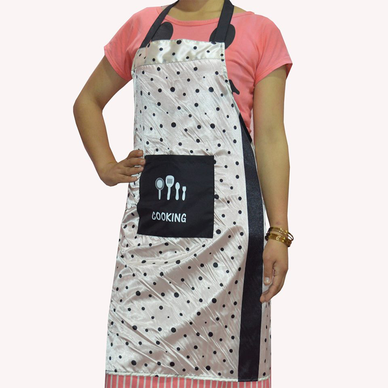 Golden Shining with Black Spot Printed Waterproof Apron with Big Front Pocket