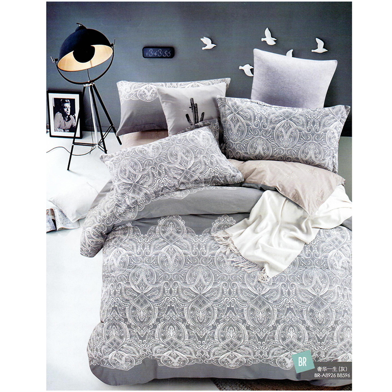 Ash Grey With White Pattern King Size Bed Sheet With 2 Pillow Cover