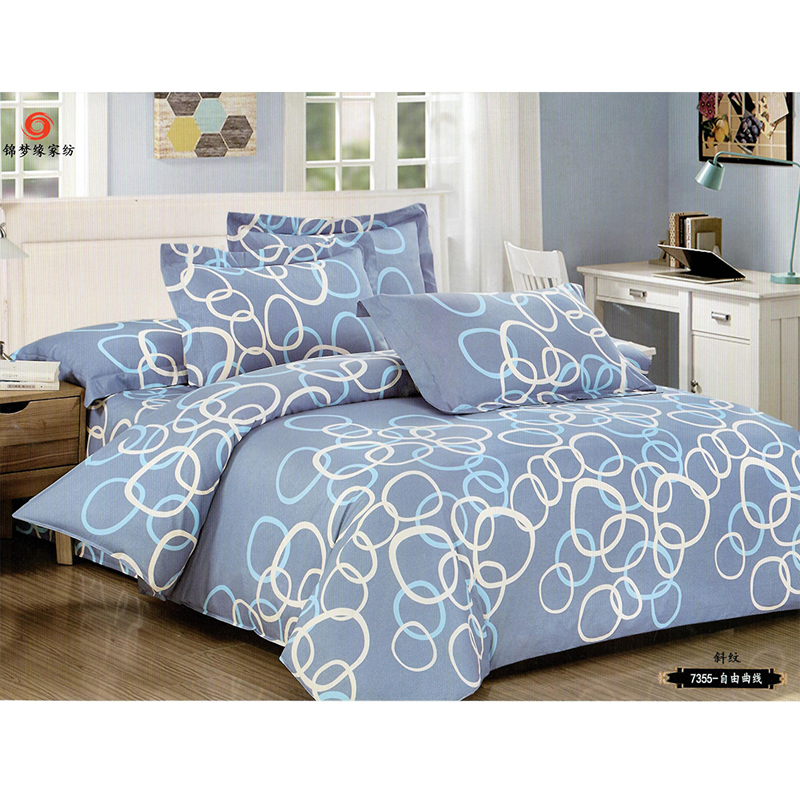 Nude Blue With Circle Double Size Bed Sheet With 2 Pillow Cover