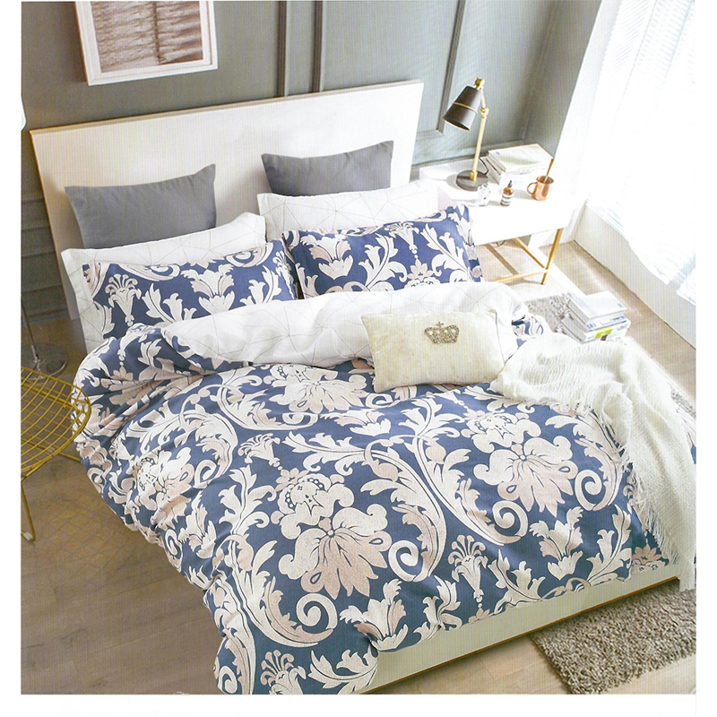 Nude Blue With White Patterned King Size Bed Sheet With 2 Pillow Cover