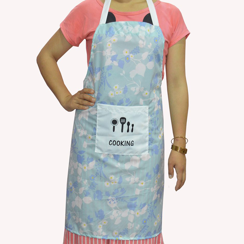 Floral Printed Waterproof Apron with Big Front Pocket