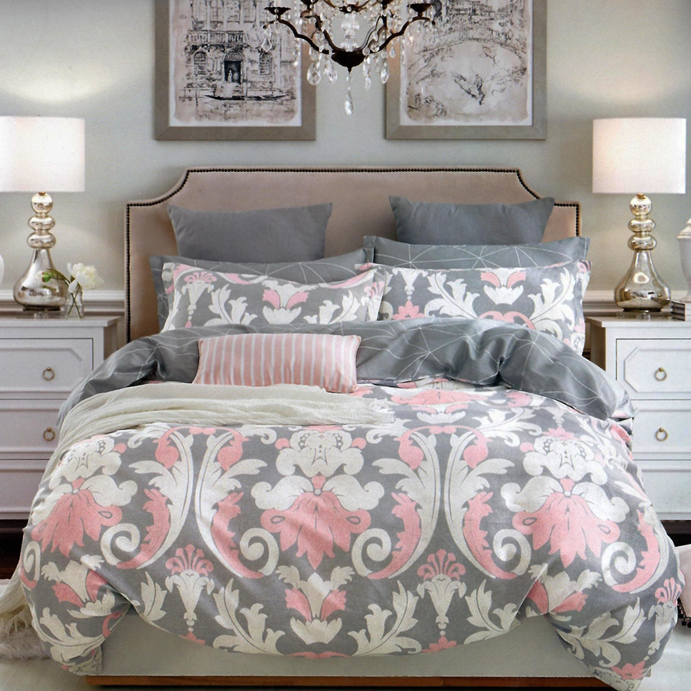 Ash Grey Printed King Size Bed Sheet With 2 Pillow Cover