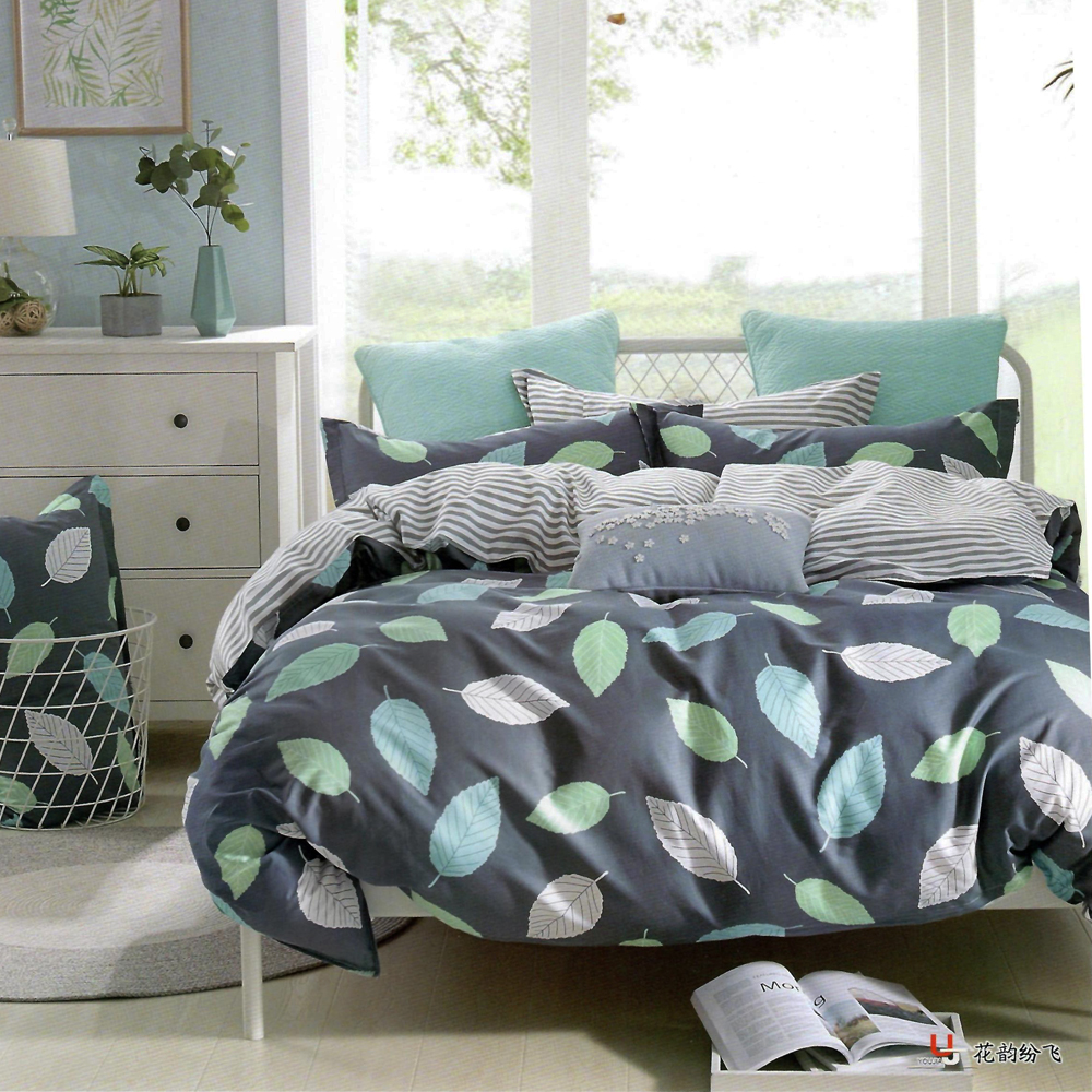 Nude Blue Leafy King Size Bed Sheet With 2 Pillow Cover