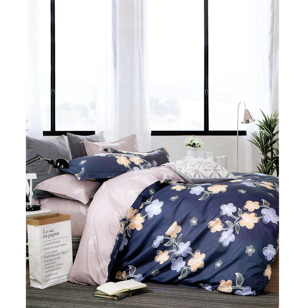 Nude Blue Floral King Size Bed Sheet With 2 Pillow Cover