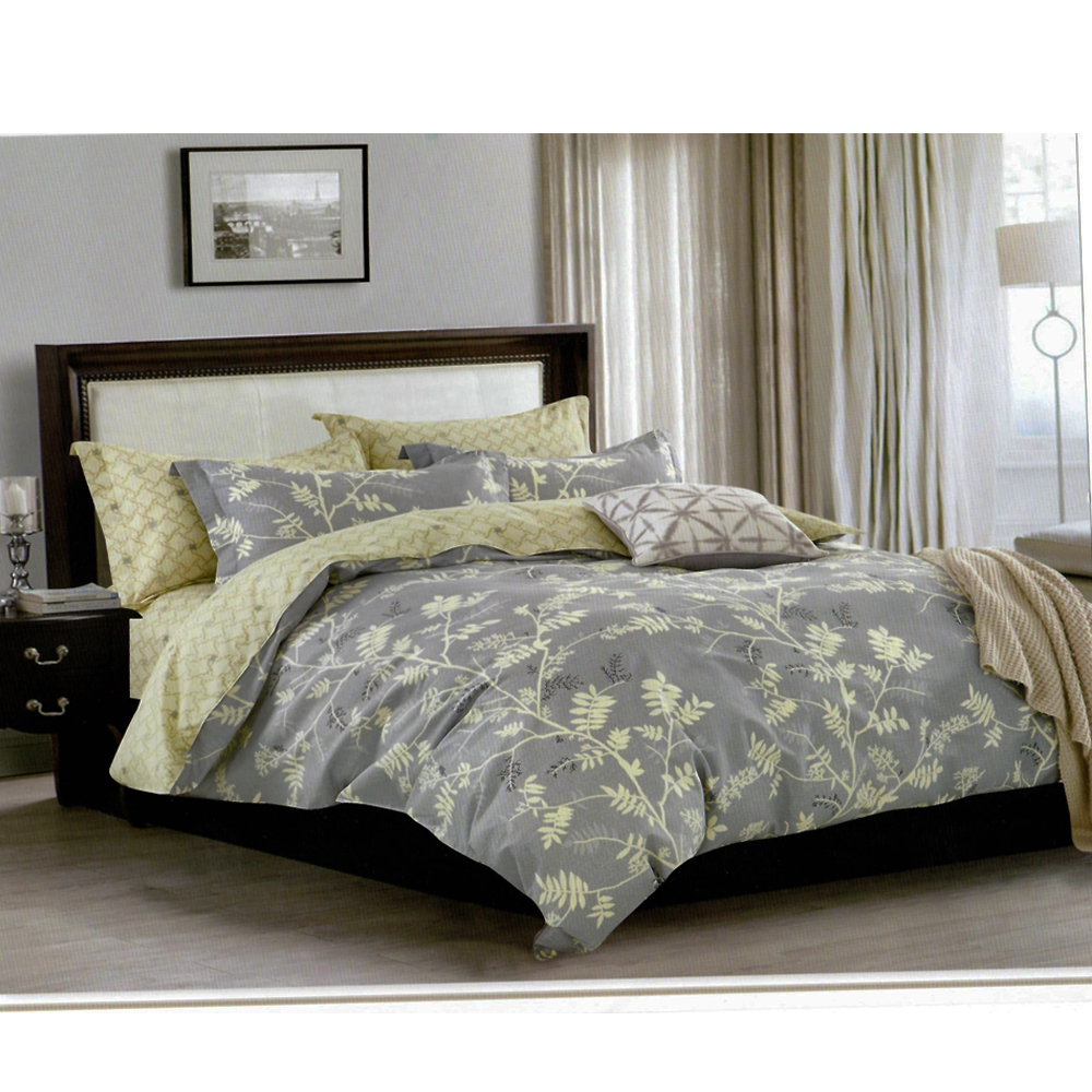 Ash Grey off white Printed King Size Bed Sheet With 2 Pillow Cover