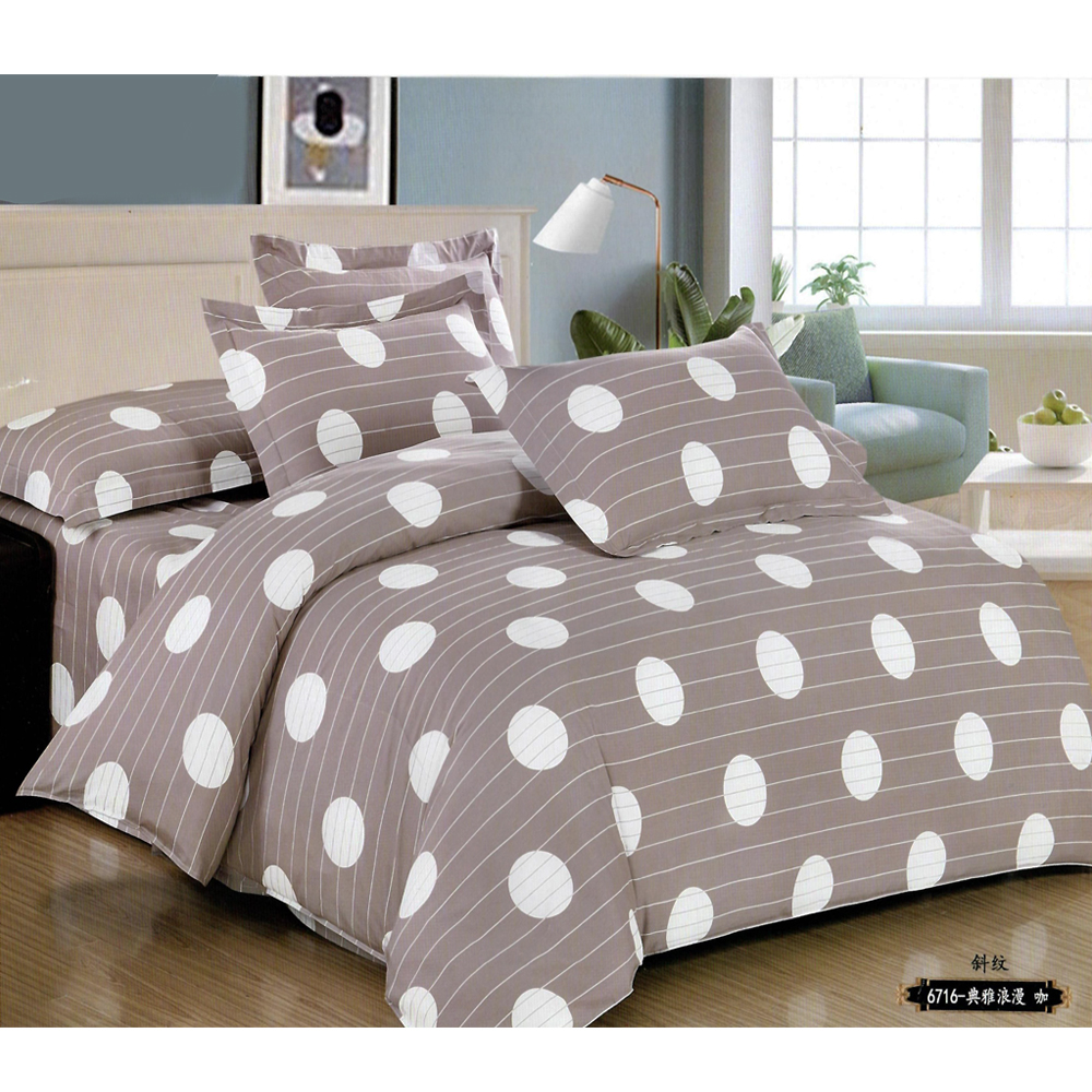 Nude Brown Dotted King Size Bed Sheet With 2 Pillow Cover