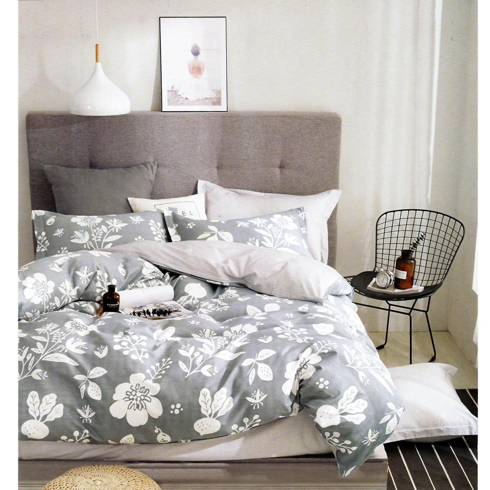 Ash Grey King Size Bed Sheet With 2 Pillow Cover