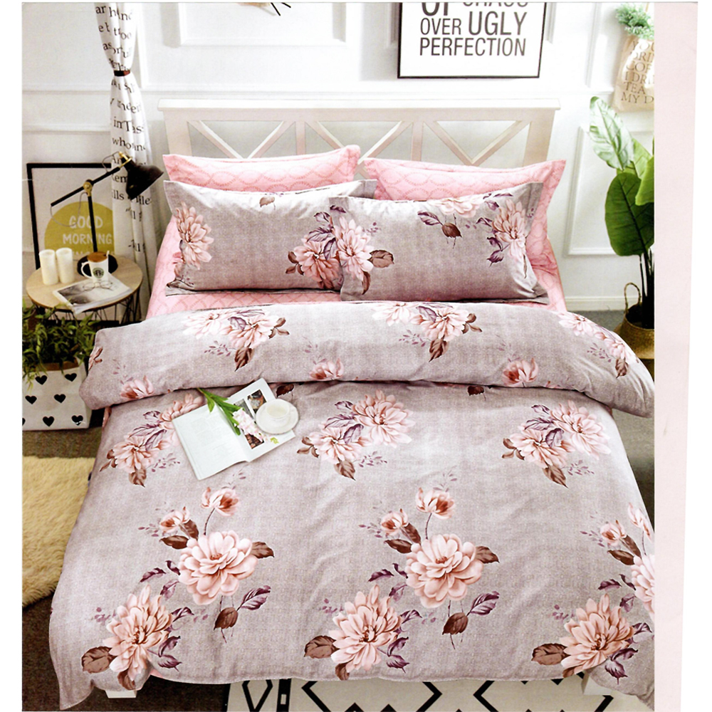 Sweet Purple Flowery King Size Bed Sheet With 2 Pillow Cover