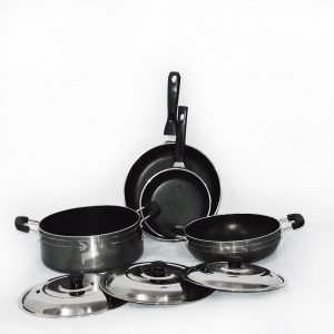4 Piece Heavy Gauge Non Stick Cookware Set With Stainless Steel Lid Small Size
