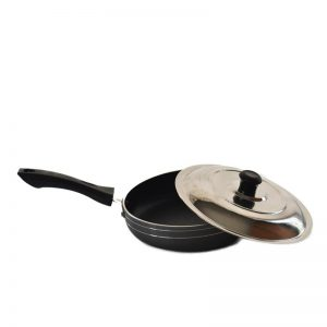 220 mm Non Stick Fry Pan With Stainless Steel Lid And Free Wooden Spatula/Rubber Scrubber