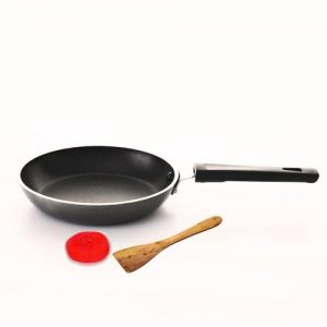 Classic 180mm Non Stick Tapper Fry Pan With Spatula + Rubber Scrubber