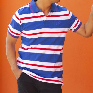 Men's Striped Slim Fit Polo T-shirt