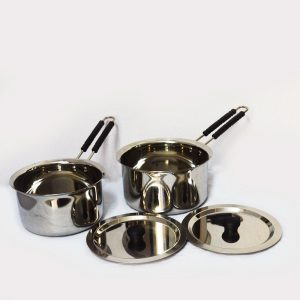 Stainless Steel Heavy Gauge 2 Piece Sauce Pan With Lid ( 1500 ml $ 1000 ml)