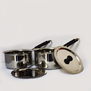 Stainless Steel Heavy Gauge 2 Piece Sauce Pan With Lid ( 2500 ml $ 2000 ml)