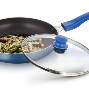 DeviDayal l Black Non Stick Soft Touched Blue Handle Fry Pan with Glass Lid-(240 Mm)