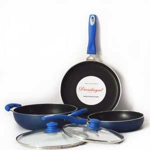 DeviDayal 3 Pcs Soft Touch Non Stick Cookware Set